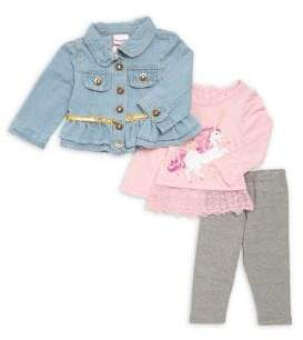 Nannette Baby Girl's Three-Piece Unicorn Embellished Jacket, Top and Leggings Set
