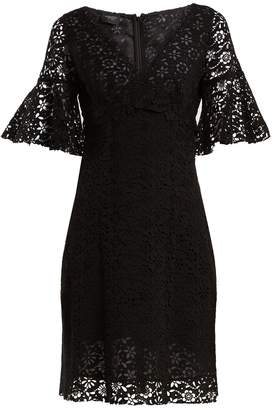 Giambattista Valli V-neck floral macramé-lace cotton-blend dress