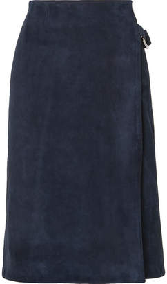 ADAM by Adam Lippes Suede Wrap Skirt - Navy