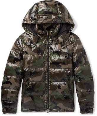 Valentino Studded Camouflage-Print Quilted Shell Hooded Down Jacket - Army green