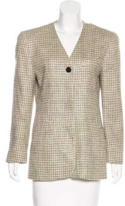 Christian Dior Collarless Tweed Blazer