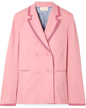 Sara Battaglia Double-breasted Grosgrain-trimmed Crepe Blazer - Pink