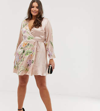 Asos DESIGN Curve satin kimono jacket mini dress with floral embroidery and tassle tie