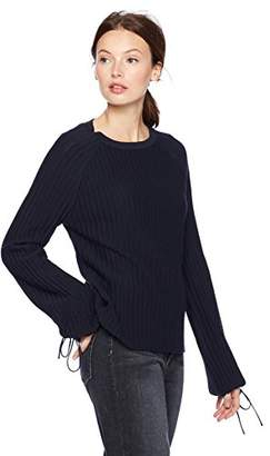 Cable Stitch Women's Tie Cuff Balloon Sleeve Sweater
