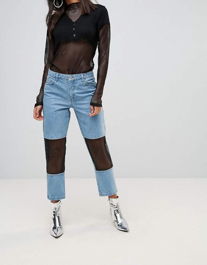 Chorus – Mom-Jeans mit Netzeinsätzen