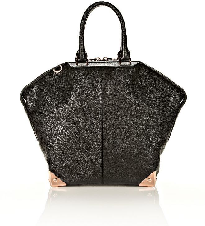 Alexander Wang Large Emile In Pebbled Black With Rose Gold