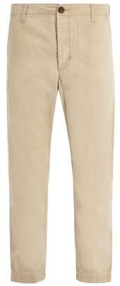 Gucci Logo Print Straight Leg Chino Trousers - Mens - Beige