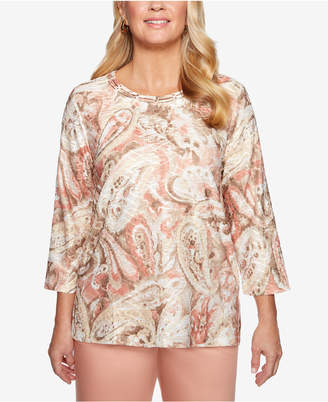 Alfred Dunner Good To Go Textured Paisley-Print Top