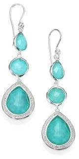 Ippolita Stella Turquoise, Clear Quartz, Diamond & Sterling Silver Doublet Triple-Drop Earrings