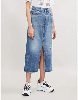 Rag & Bone Clyde ripped high-waist denim skirt