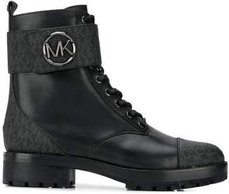 Michael Kors logo patterned ankle boots