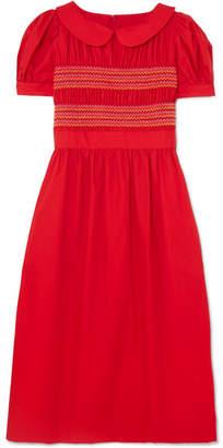 Comme des Garcons Embroidered Shirred Cotton-poplin Midi Dress