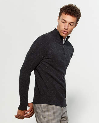 Qi Quarter-Zip Marled Long Sleeve Cashmere Sweater