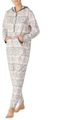 Kensie Long-Sleeve Hooded One-Piece Pajama