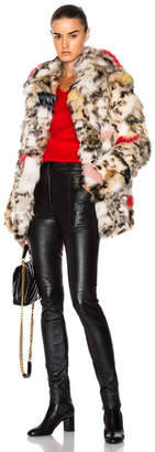Saint Laurent Leopard Fox Fur Coat