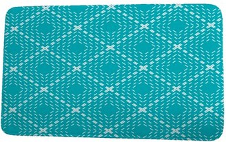 Simply Daisy 24 x 36 Inch Upscale Getaway Dots and Dashes Green Geometric Print Bath Mat