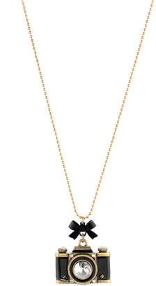 Betsey Johnson Gold-Tone Camera Pendant Necklace