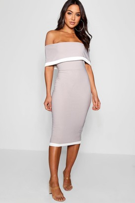 boohoo Contrast Off the Shoulder Midi Dress