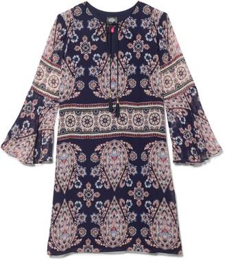 Paisley-print Bell-sleeve Dress