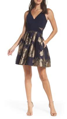 Xscape Evenings Deep-V Brocade Party Dress