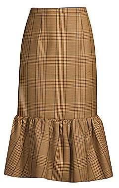 Michael Kors Women's Rumba Houndstooth Flounce Midi Skirt