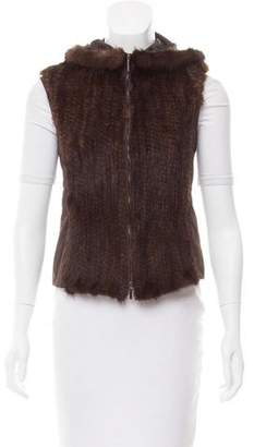 Max Mara 'S Mink Fur-Trimmed Hooded Vest