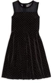 Design History Girl's Sleeveless Velour Studded Dress