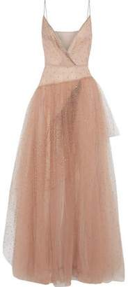 Valentino Wrap-effect Crystal-embellished Tulle Gown