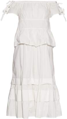 REBECCA TAYLOR Off-the-shoulder stretch cotton-blend dress $475 thestylecure.com