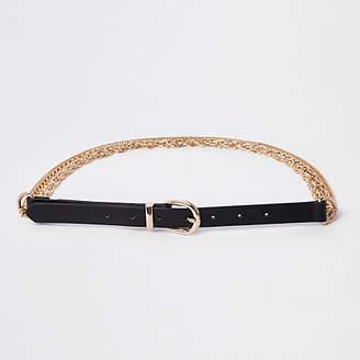 River Island Womens Black chain jeans belt