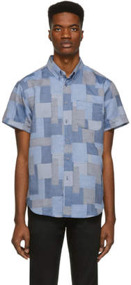 Naked & Famous Denim Denim Denim Blue Jacquard Abstract Blocks Shirt