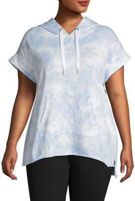 Calvin Klein Plus Tie Dye Pullover Short Sleeve Hoodie