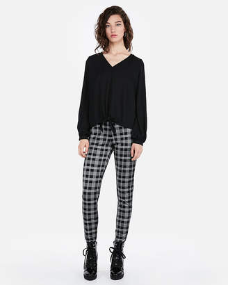 Express Tie Front Balloon Sleeve Blouse