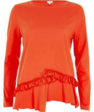 River Island Orange split frill hem long sleeve T-shirt