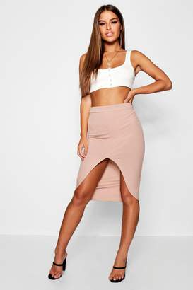 boohoo Petite Basic Extreme Split Rib Midi Skirt