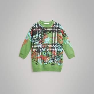 Burberry Graffiti Scribble Check Print Cotton Dress , Size: 6Y, Green