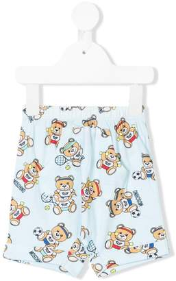 Moschino Kids sporty teddy printed shorts