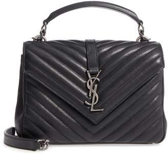 Saint Laurent Medium College Quilted Leather Shoulder Bag