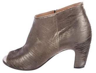 Maison Margiela Metallic Peep-Toe Booties