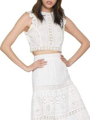 Zoila Eyelet Cropped Top