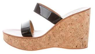 K Jacques St Tropez Patent Leather Wedge Sandals