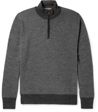 Canali Mélange Wool Half-Zip Sweater