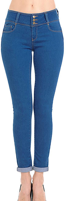 Medium Wash Triple Button Skinny Jeans - Women & Juniors