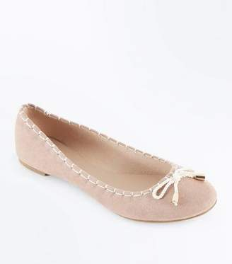 New Look Nude Suedette Rope Bow Ballet Pumps