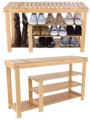 Bamboo Shoe and Boot Rack Bench with 3 Tiers-Natural Wood Seat Storage and Organization-For Bedroom, Entryway, Hallways, Closets by Lavish Home