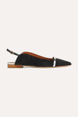 Malone Souliers Marion Leather-trimmed Suede Slingback Point-toe Flats - Black