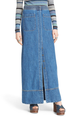 Free People Just a Dream Denim Skirt $148 thestylecure.com