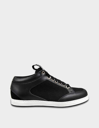 Jimmy Choo Miami Choo Me Sneakers in Black Canvas and Leather