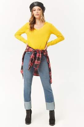 Forever 21 Cuffed Straight-Leg Jeans