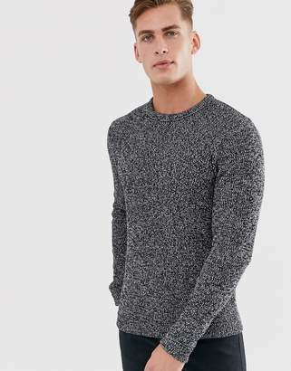 Selected knitted sweater in mixed yarn cotton